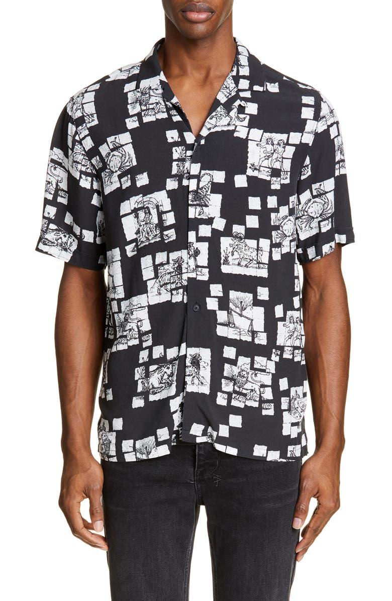 KSUBI Zodiac Acid Resort Camp Shirt, Main, color, 001