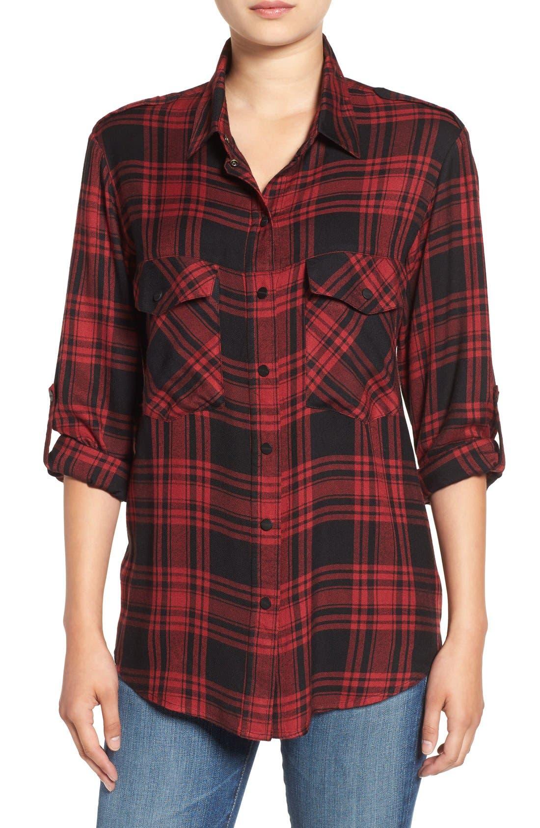 ,                             Plaid Flannel Boyfriend Shirt,                             Main thumbnail 11, color,                             603