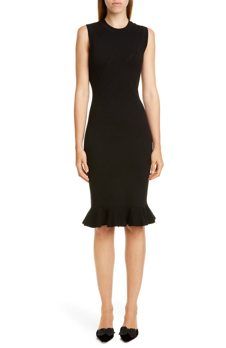VICTOR GLEMAUD Slash Stitch Merino Wool Sweater Dress, Main, color, BLACK