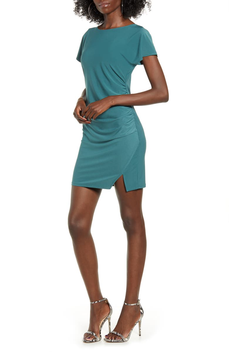 LEITH Ruched Minidress, Main, color, TEAL CYRUS