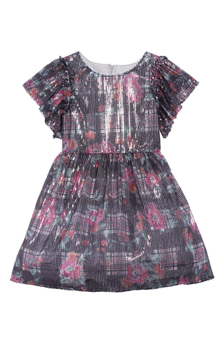 PIPPA & JULIE Sequin Floral Flutter Sleeve Dress, Main, color, 040