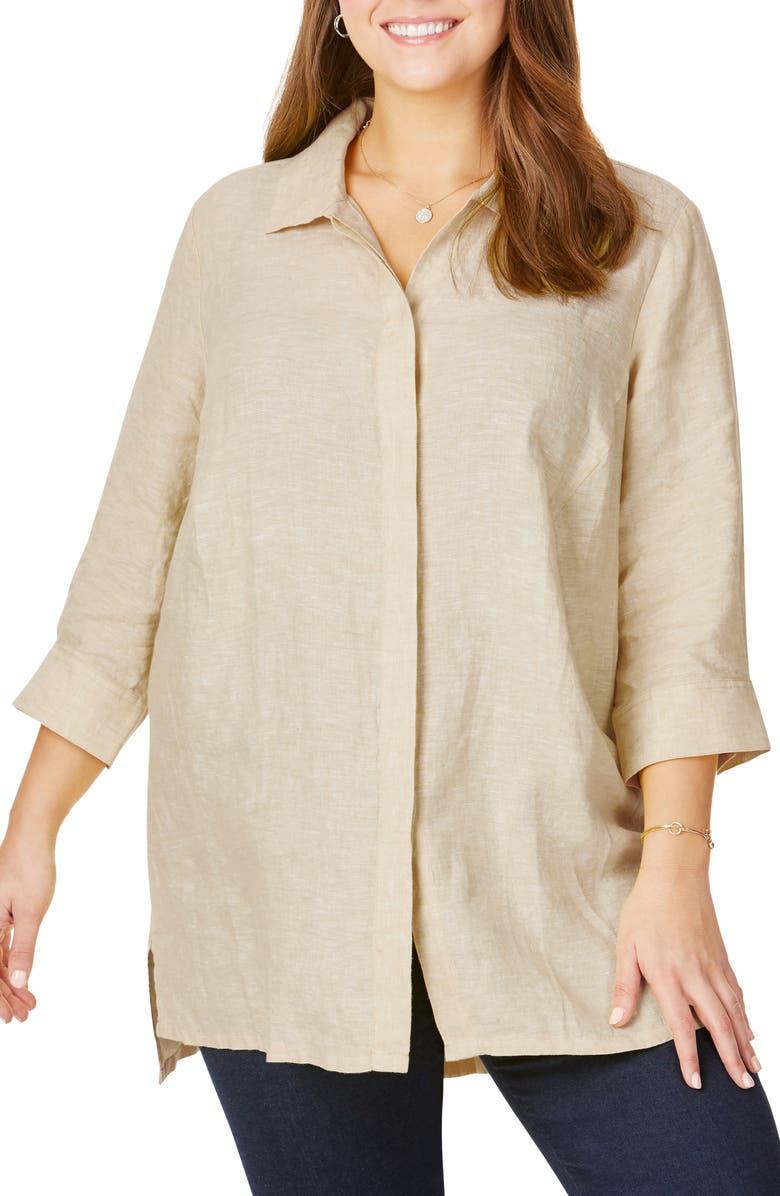 Foxcroft Chambray Linen Tunic Shirt Plus Size