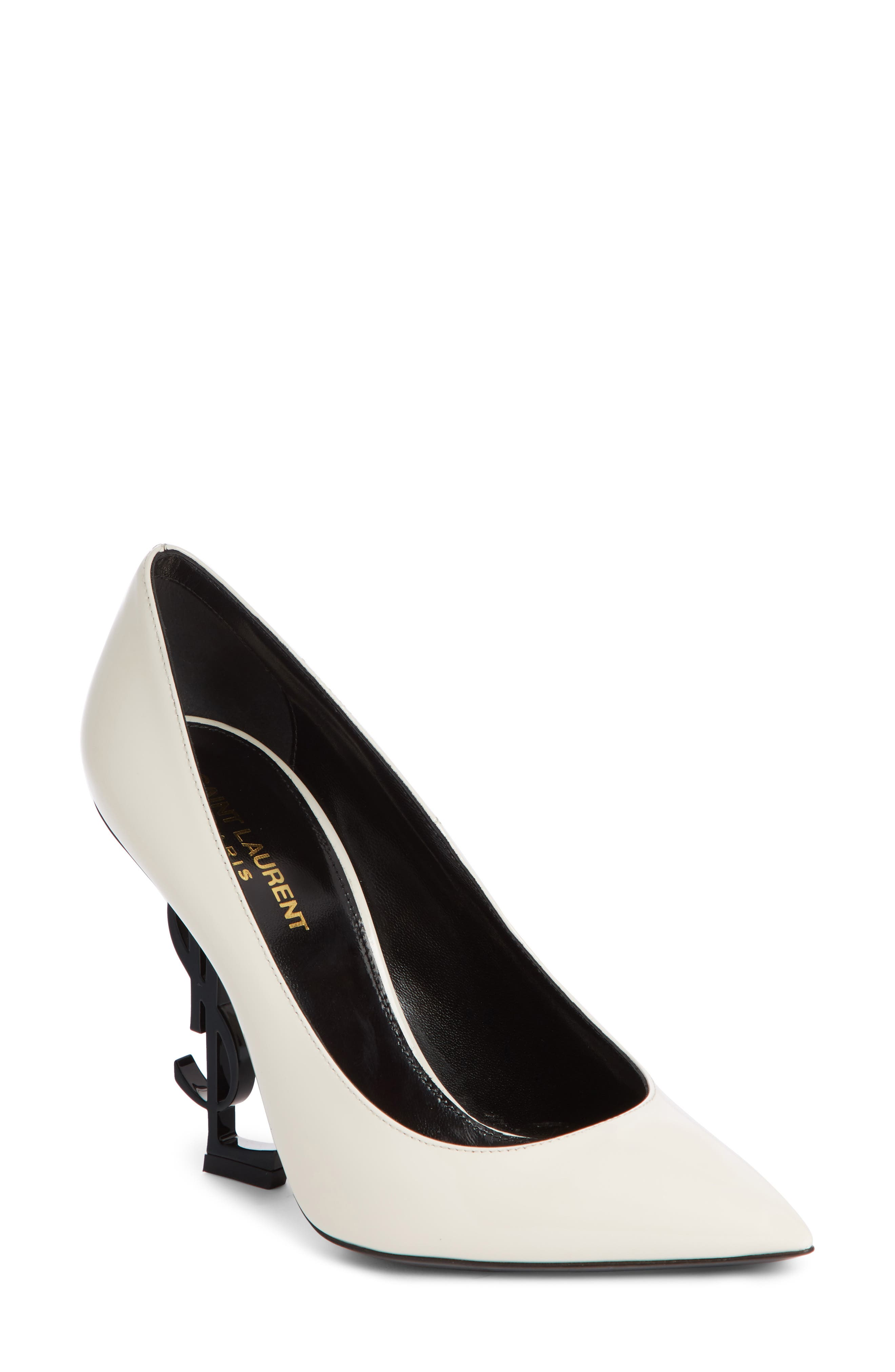Saint Laurent Opyum Ysl Pointy Toe Pump, White