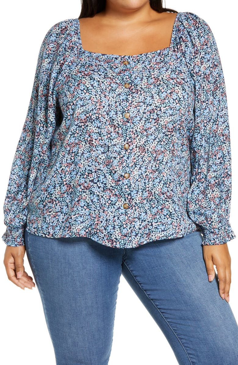 CASLON<SUP>®</SUP> Summer Crepe Front Button Blouse, Main, color, NAVY PEACOAT MIXED MEADOWS