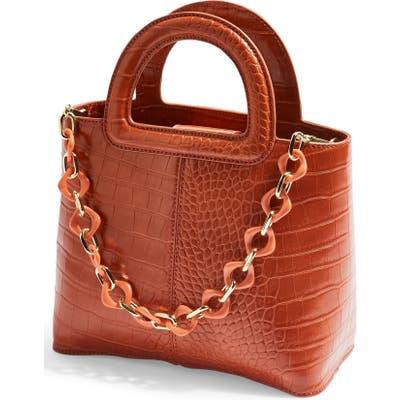 Topshop Tia Croc Embossed Faux Leather Satchel - Orange