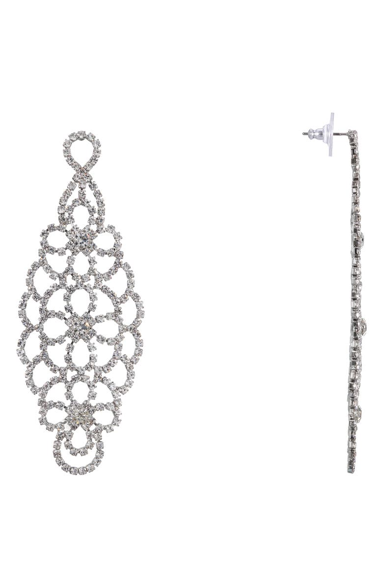 NINA Cup Chain Chandelier Earrings, Main, color, SILVER/ WHITE CRYSTAL