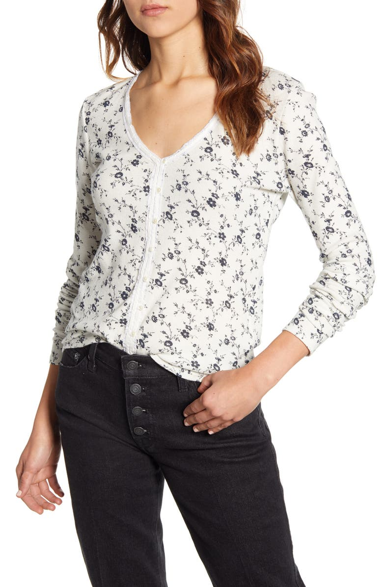 LUCKY BRAND Floral Print Button Front Thermal Top, Main, color, CREAM MULTI