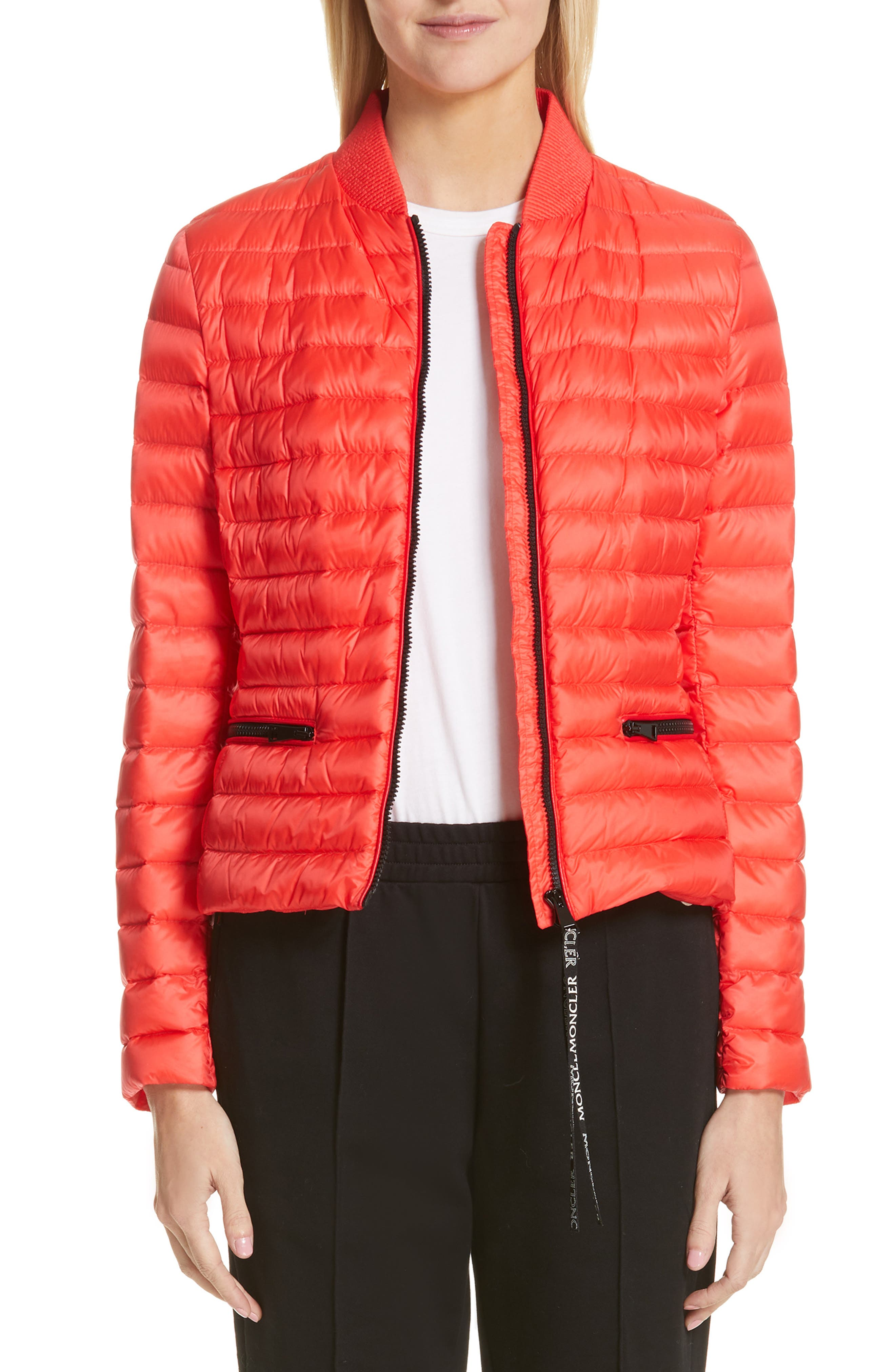 Moncler Blenca Quilted Down Jacket, Red
