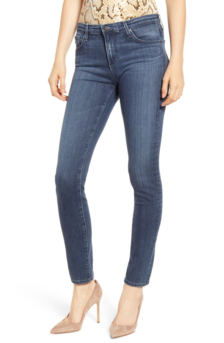 AG 'The Prima' Mid Rise Cigarette Skinny Jeans, Main, color, PACIFIC INDIGO