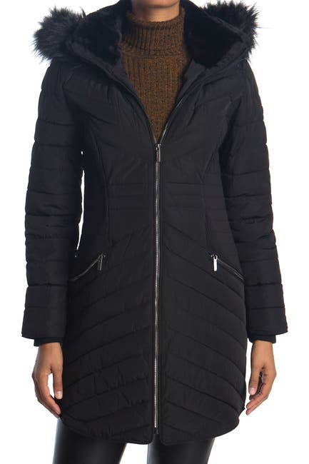 Image of DKNY Zip Front Faux Fur Trim Puffer Jacket