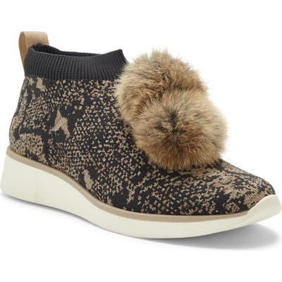 Louise Et Cie Buffie Sneaker With Genuine Rabbit Fur Trim, Beige