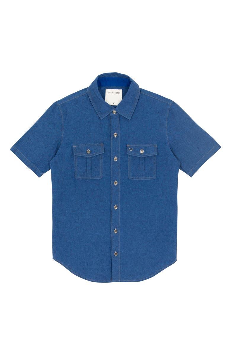TRUE RELIGION BRAND JEANS Woven Shirt, Main, color, ROYAL BLUE