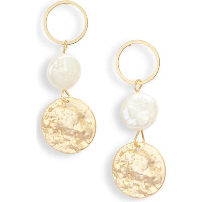 Jules Smith Imitation Coin Pearl Drop Earrings