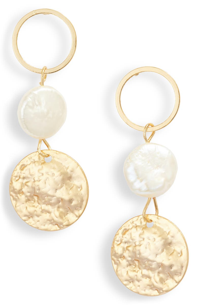 JULES SMITH Imitation Coin Pearl Drop Earrings, Main, color, GOLD