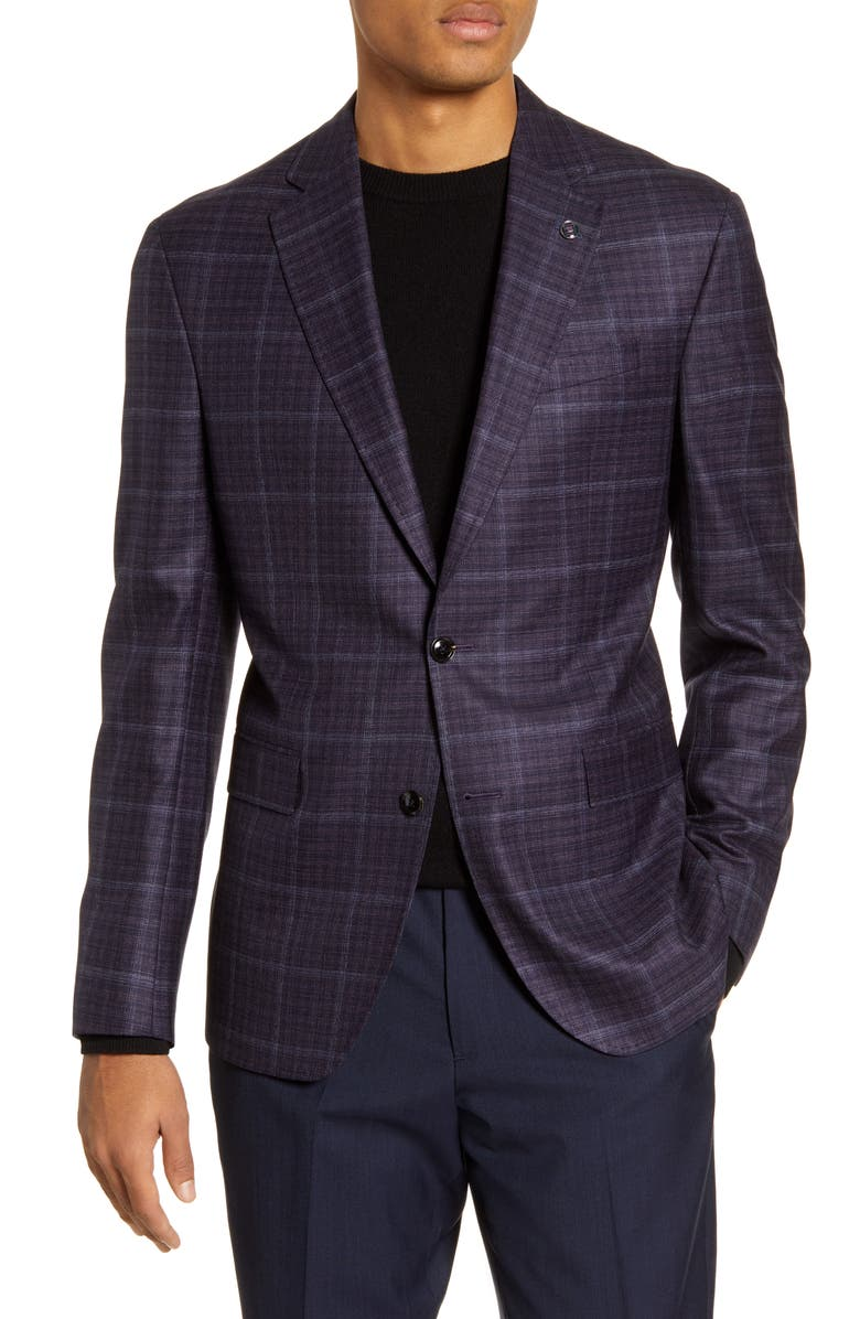 TED BAKER LONDON Konan Trim Fit Plaid Wool Sport Coat, Main, color, PURPLE