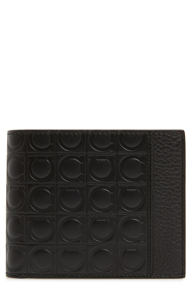 SALVATORE FERRAGAMO Gancini Bifold Leather Wallet, Main, color, NERO/ NERO