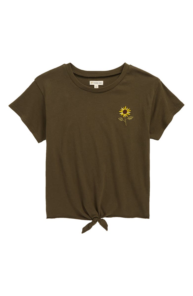 TUCKER + TATE Kids' Tie Front Logo Tee, Main, color, OLIVE SARMA SUNFLOWER