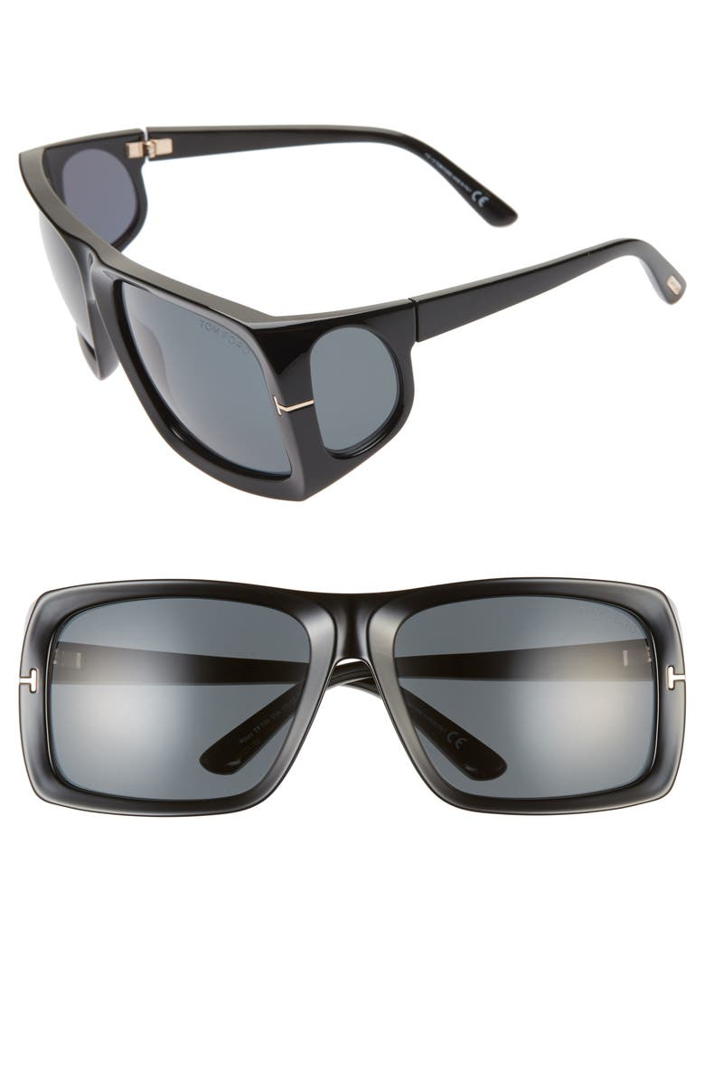 TOM FORD Rizzo 61mm Wrap Sunglasses, Main, color, SHINY BLACK/ SMOKE
