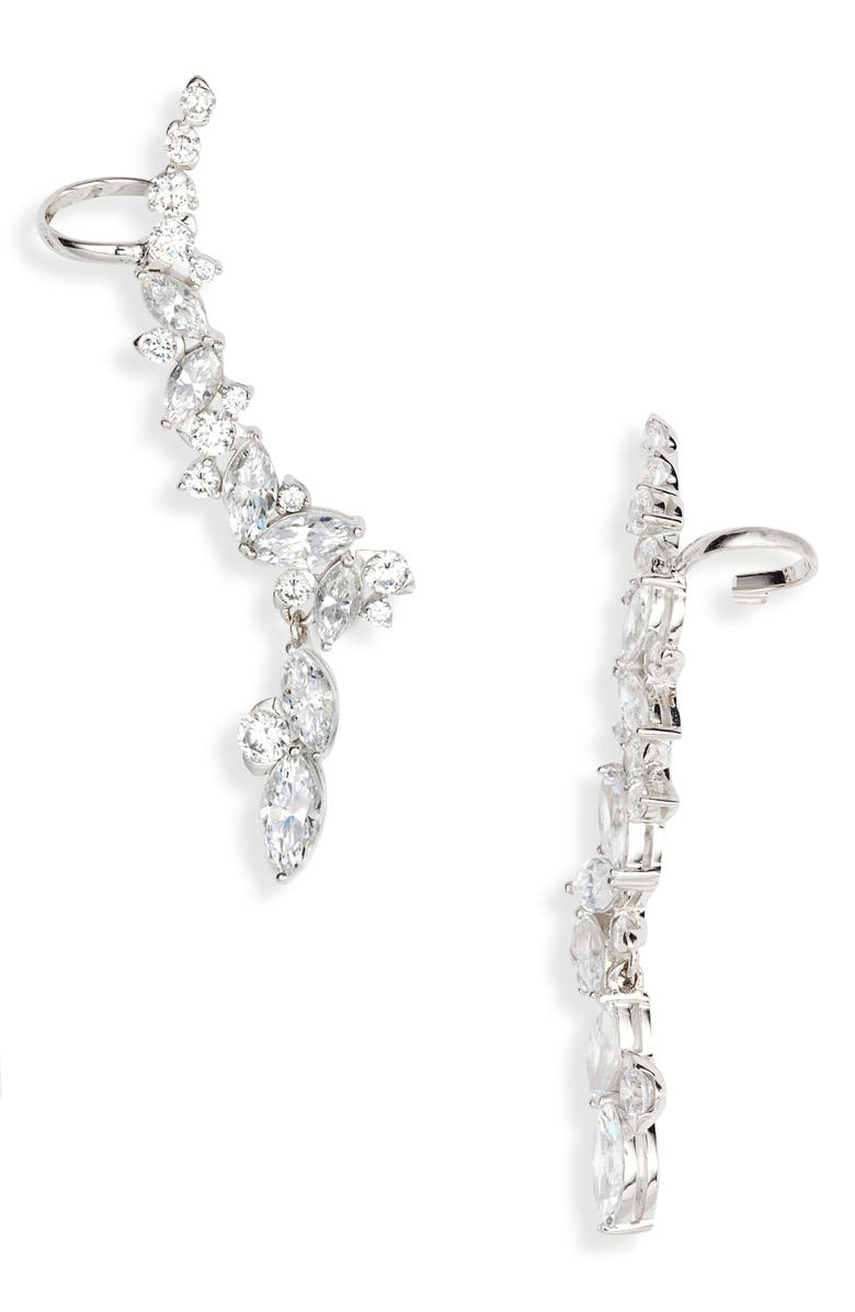 NADRI Tango Climber Drop Earrings, Main, color, RHODIUM