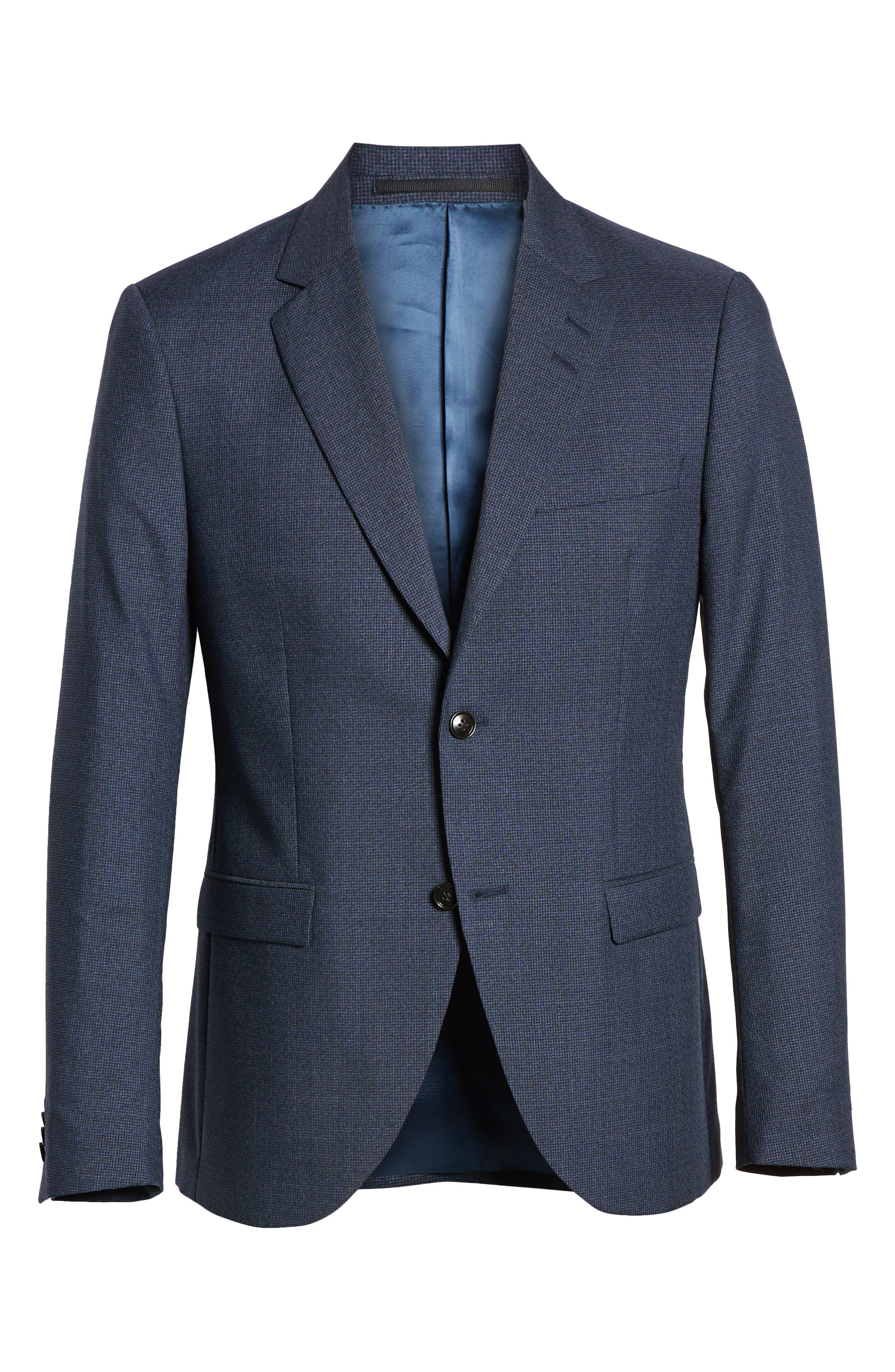 ,                             Jamonte Trim Fit Houndstooth Wool Blazer,                             Alternate thumbnail 7, color,                             BLUE