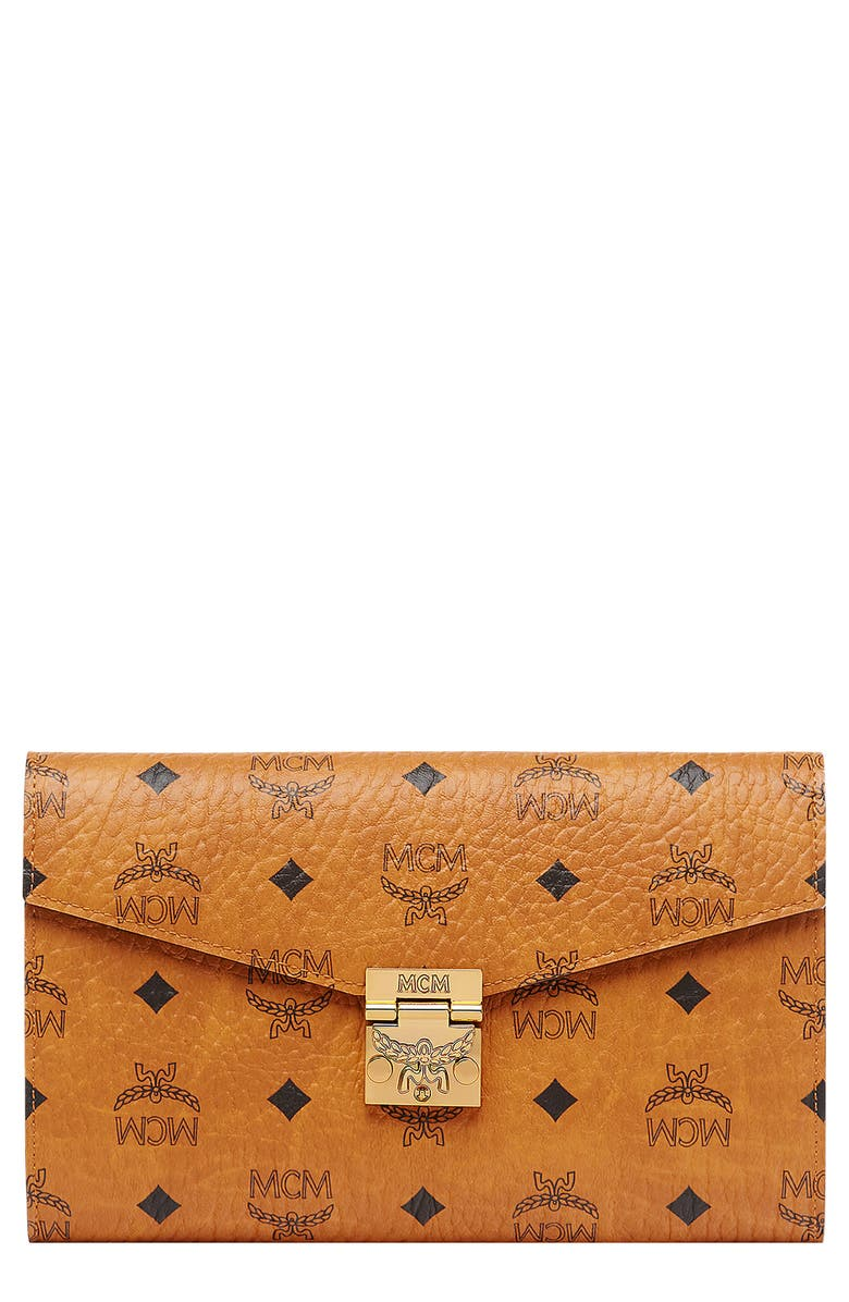 MCM Patricia Visetos Continental Wallet on a Chain, Main, color, COGNAC