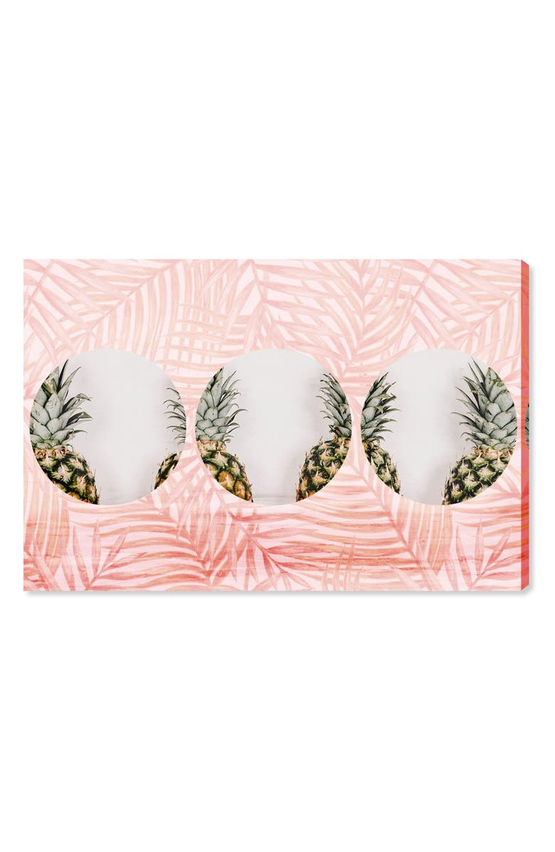 OLIVER GAL Pineapples & Leaves Canvas Wall Art, Main, color, PINK