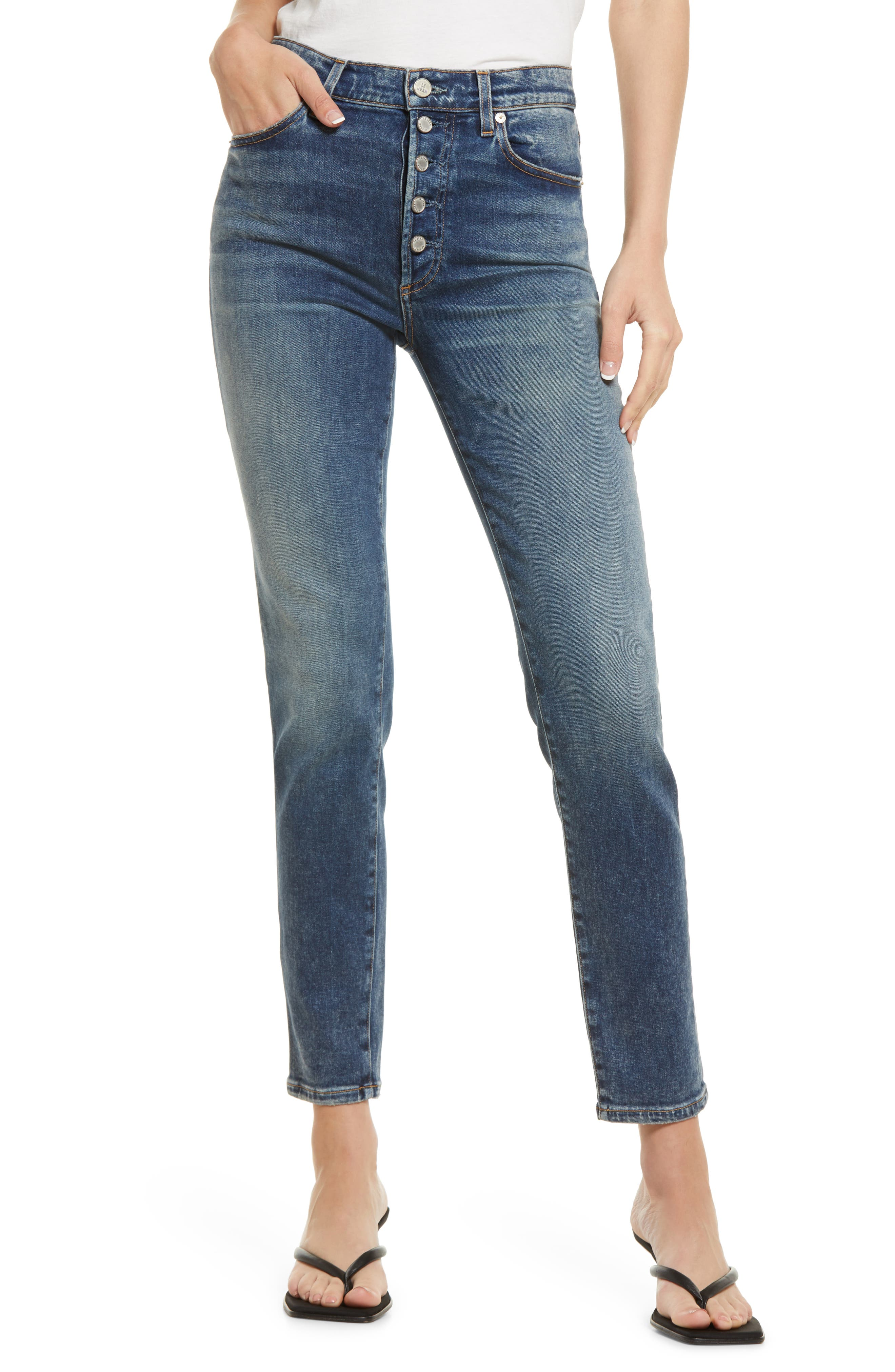 Joss Exposed Button Skinny Jeans