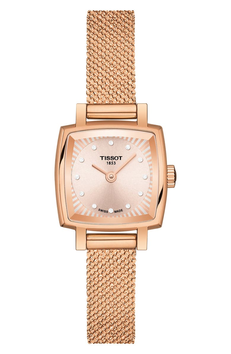 TISSOT Lovely Square Diamond Bracelet Watch, 20mm, Main, color, ROSE GOLD