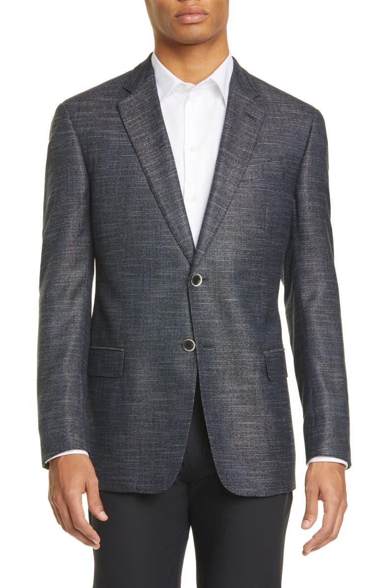 EMPORIO ARMANI G Line Trim Fit Solid Sport Coat, Main, color, NAVY