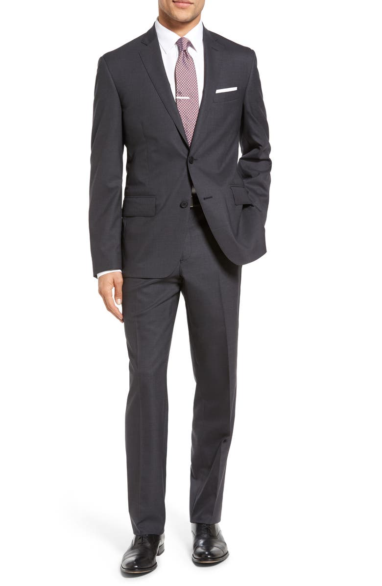 NORDSTROM MEN'S SHOP Tech-Smart Trim Fit Solid Stretch Wool Travel Suit, Main, color, 020