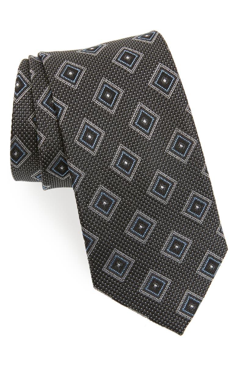 NORDSTROM MEN'S SHOP Medallion Silk Tie, Main, color, BLACK