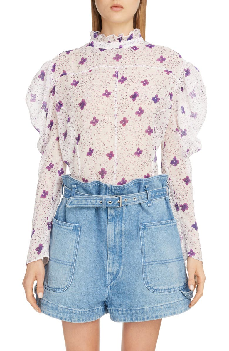 ISABEL MARANT Floral Puff Shoulder Cotton & Silk Blouse, Main, color, WHITE
