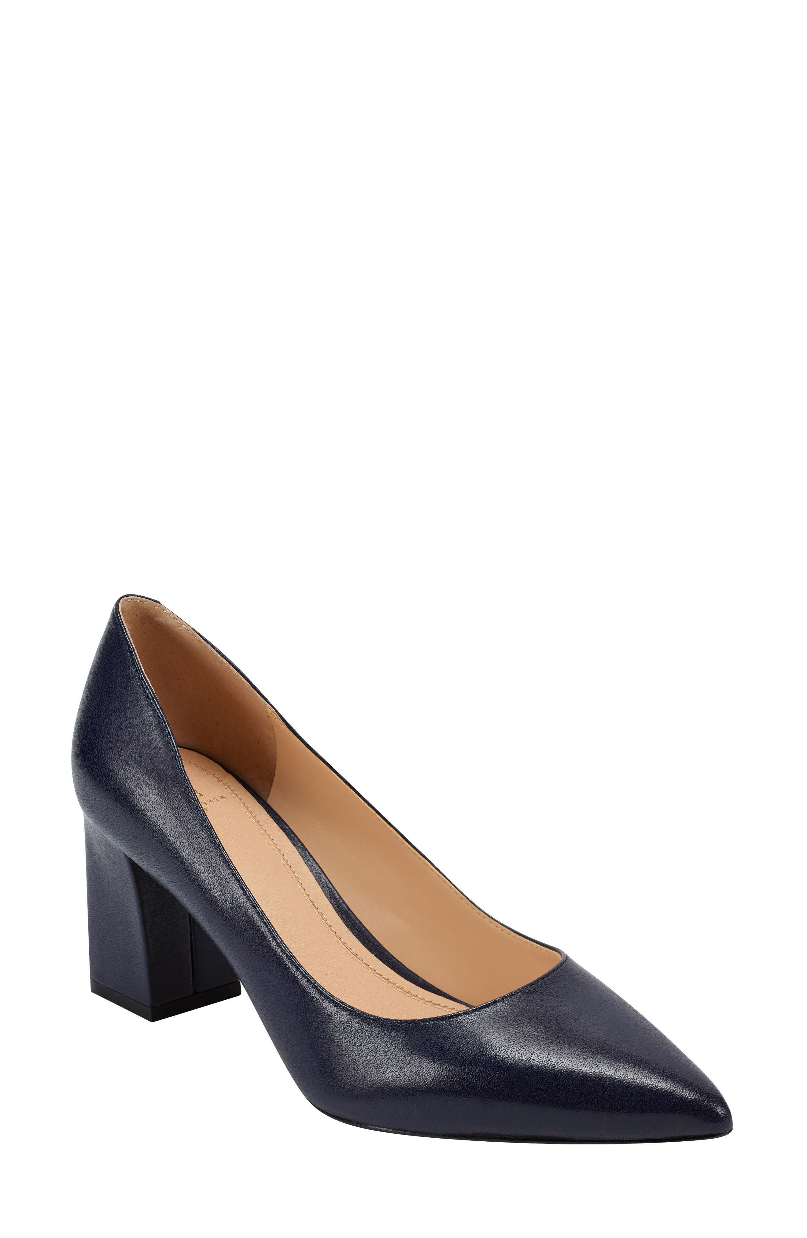 Clean lines highlight the timeless appeal of a classic pointy-toe pump lifted by an on-trend, structural block heel. Style Name: Marc Fisher Ltd Zala Block Heel Pump (Women). Style Number: 5154387 39. Available in stores.