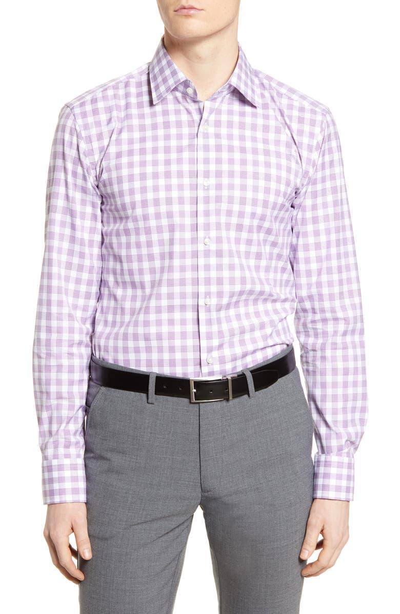 BOSS Slim Fit Plaid Dress Shirt, Main, color, DARK PURPLE