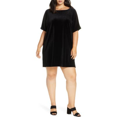 Plus Size Eileen Fisher Stretch Velvet Shift Dress, Black