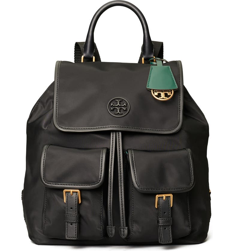 TORY BURCH Perry Nylon Backpack, Main, color, BLACK