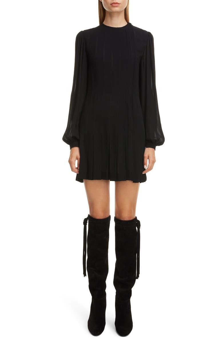 SAINT LAURENT Long Sleeve Pleated Crepe Shift Dress, Main, color, NOIR