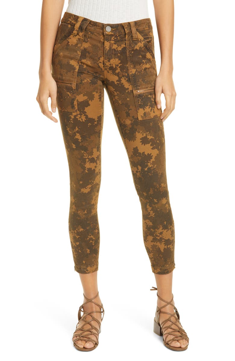 JOIE Park Leaf Print Skinny Ankle Pants, Main, color, 200