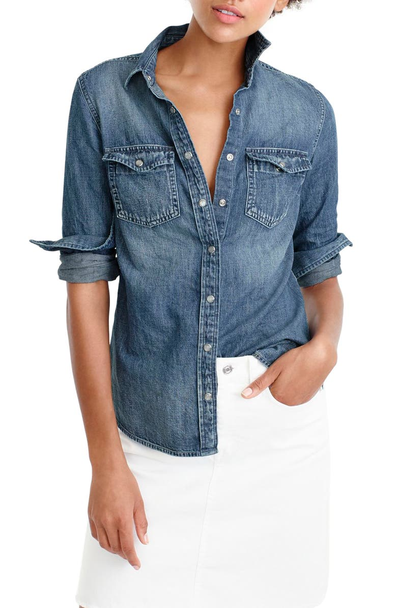 103b5a74 J.Crew Washed Western Chambray Shirt (Regular & Petite) | Nordstrom