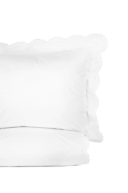 Image of Melange Home Double Scalloped Embroidered King 300 Thread Count Duvet 3-Piece Set - White