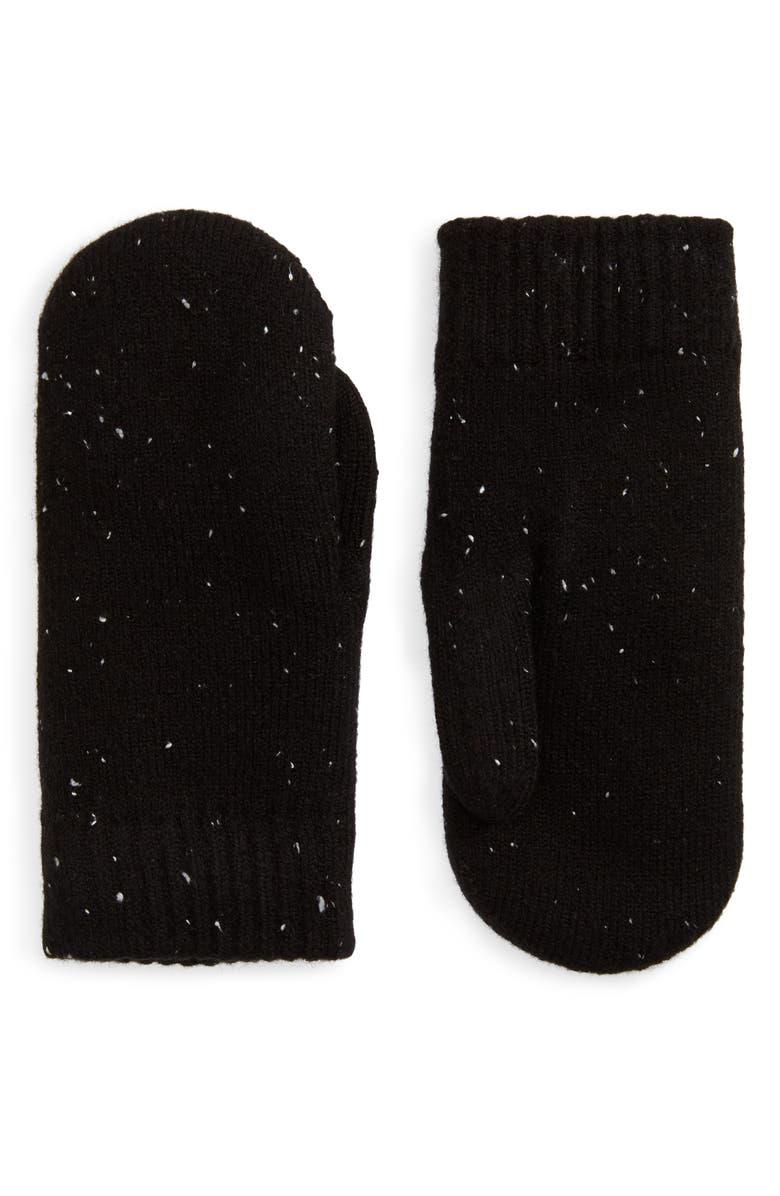 BP. Speckled Knit Mittens, Main, color, BLACK