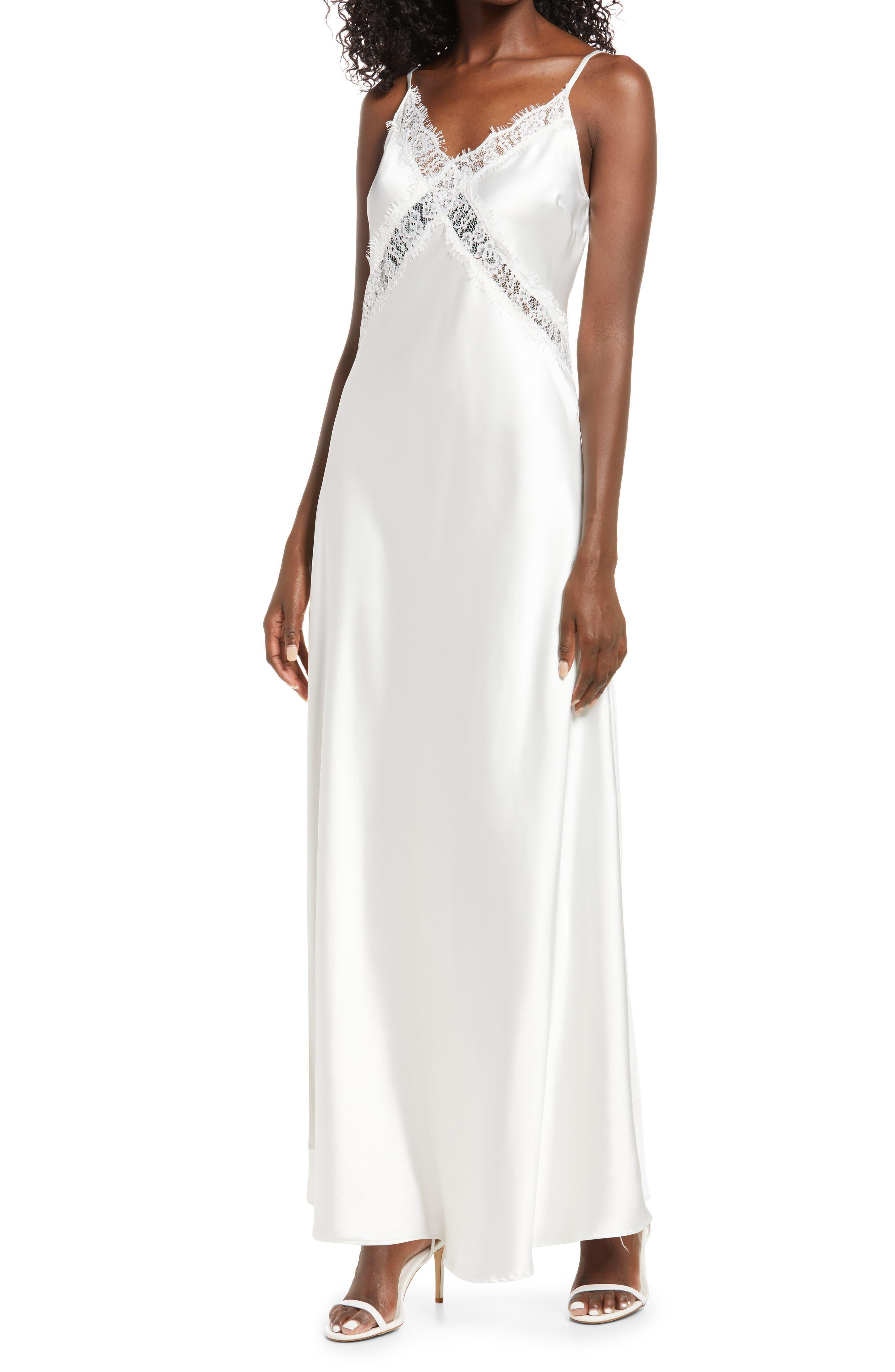 60s Wedding Dresses   70s Wedding Dresses Womens Lulus Love  Romance Satin Evening Gown Size Large - White $78.00 AT vintagedancer.com