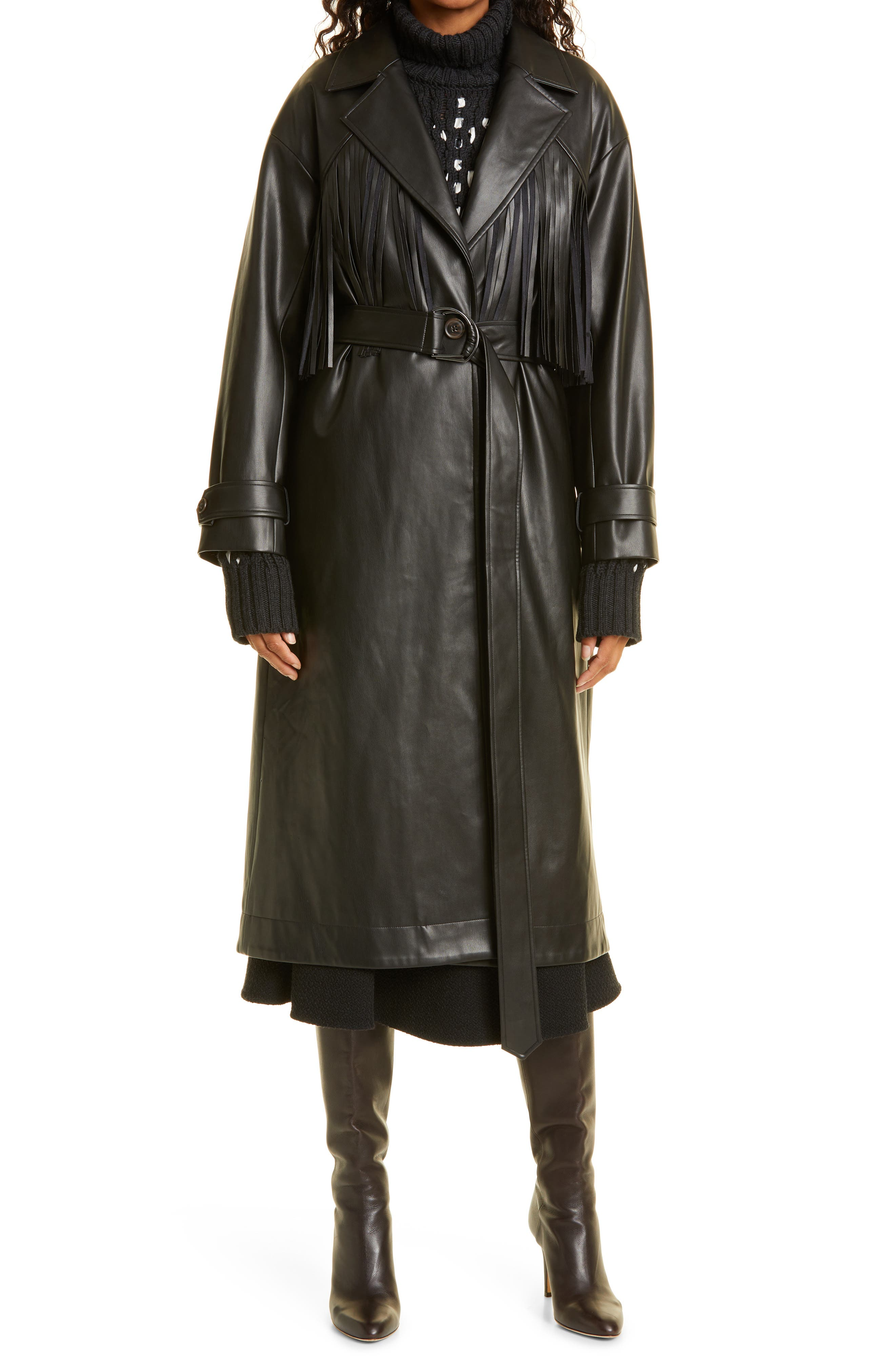 Women's Jason Wu Faux Leather Fringe Detail Coat