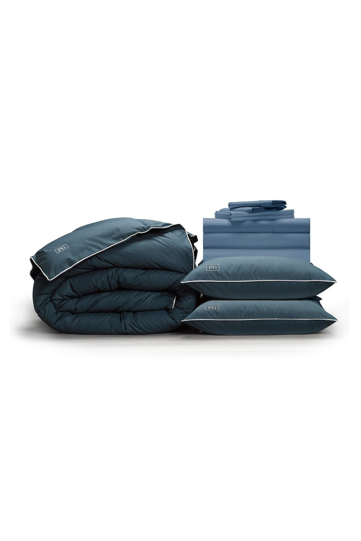 Image of Pillow Guy Full Luxe Soft & Smooth Perfect Down Alt Gel Bedding Set - Cadet Blue