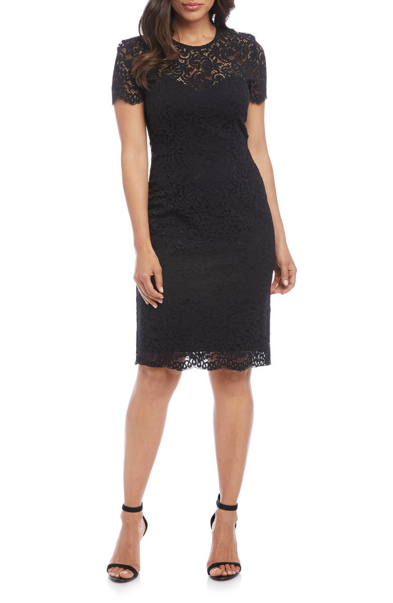 KAREN KANE Paris Lace Cocktail Dress, Main, color, BLACK W/ BLACK