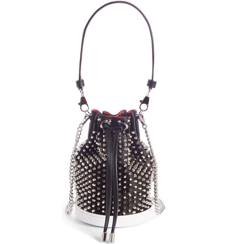 CHRISTIAN LOUBOUTIN Marie Jane Loubirun Silk Bucket Bag, Main, color, 001