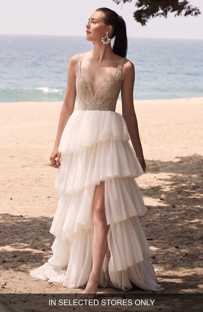 WILLOWBY Paisley Tiered Tulle Wedding Dress, Main, color, IVORY