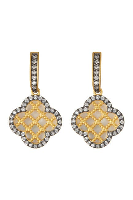 Image of Freida Rothman Two-Tone Lattice Mother of Pearl Drop Earrings