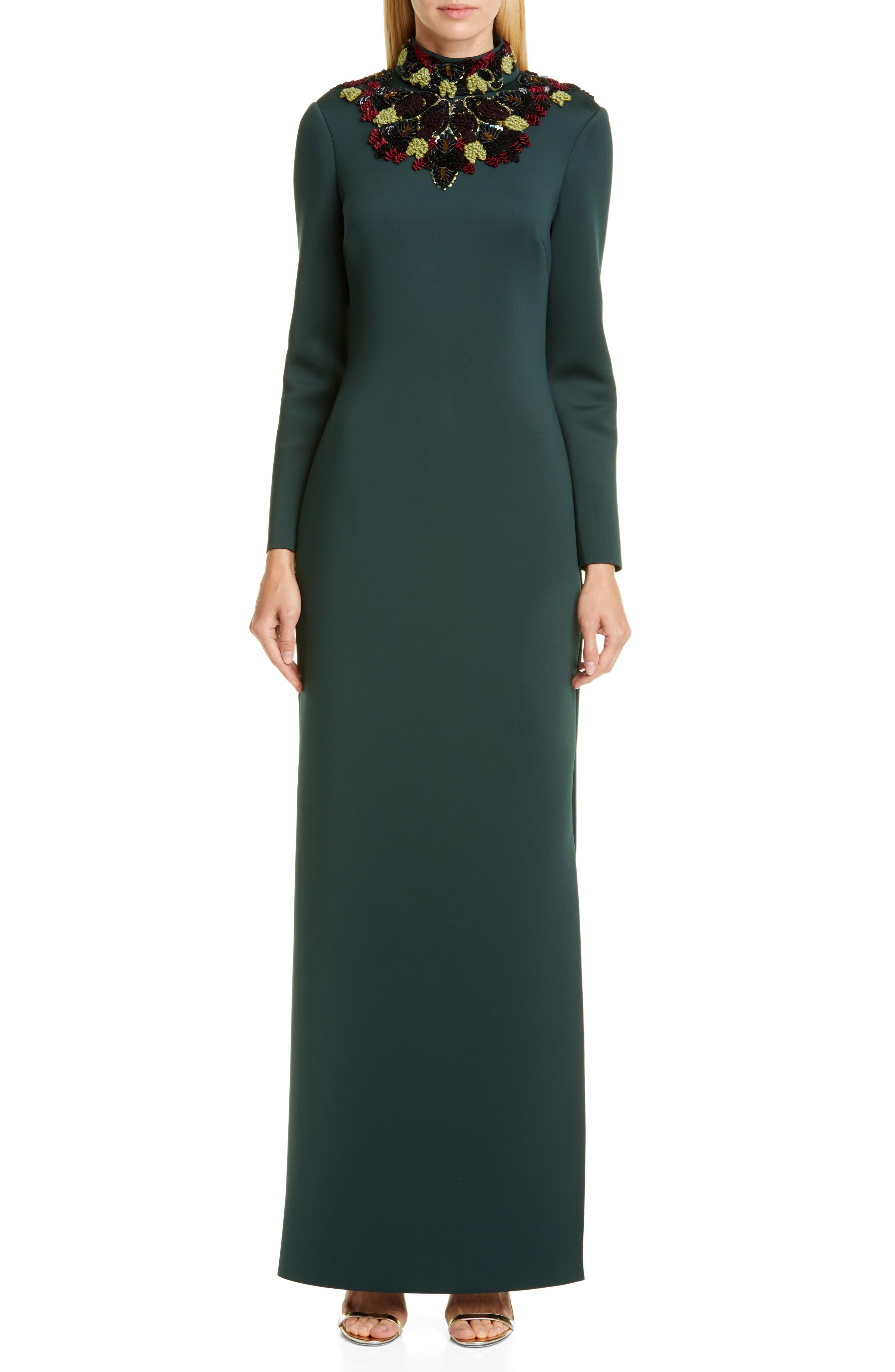 Badgley Mischka Open Back Long Sleeve Embellished Gown, Green
