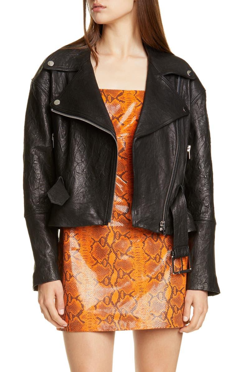 GRLFRND Charlie Belted Crinkled Leather Moto Jacket, Main, color, 001